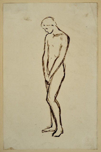 Study of a male Nude with Hands clasped