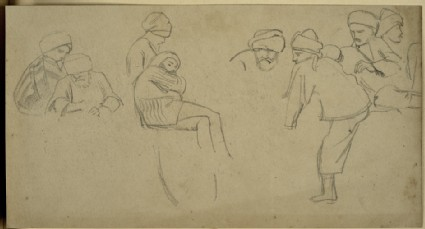 Recto: Group of Eastern Figures Verso: Slight Study of Castellated Buildings