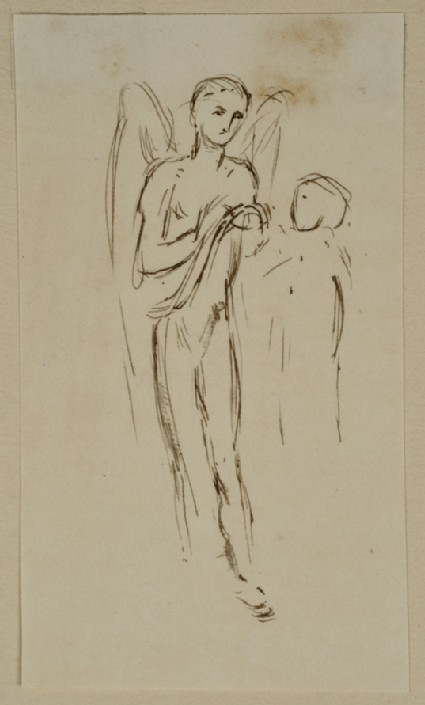 Studies of an Angel holding a Scroll and another Figure
