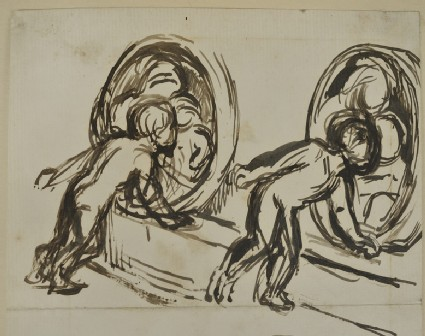 Studies of Gladys Holman Hunt looking at a Bas-relief of the Virgin and Child