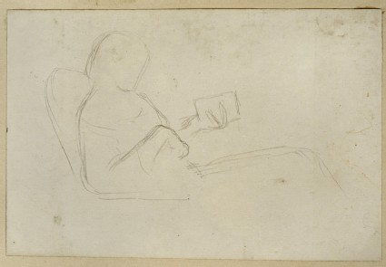 Slight Study of a seated Woman reading