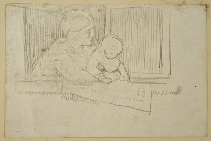 Study of a Woman and a Baby looking out of a Window