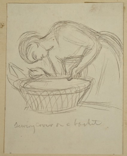 Study of a Woman sewing a Cover on a Basket