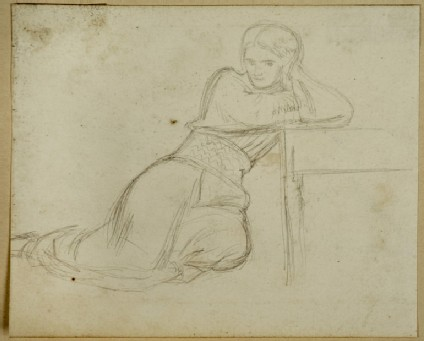 Study of a Woman leaning against a low Table