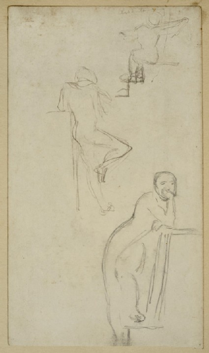 Recto: Three Studies of a Figure on Steps<br />Verso: Studies of an Arch and Pillar