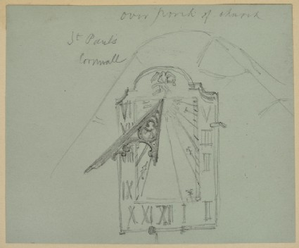 Recto: Study of the Sundial on St Pol de Léon's Church, Paul, Cornwall