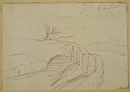 Recto: Slight Study of Landscape<br />Verso: Study of Ornament