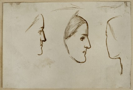 Three Studies of a female Head in profile