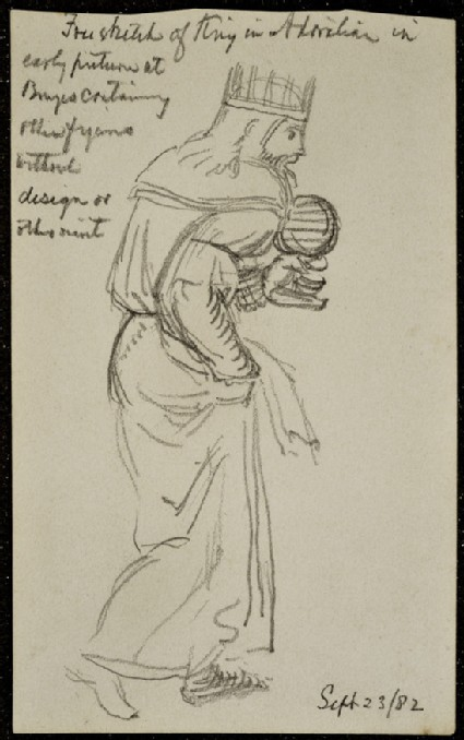 Free Sketch of a King, copied from an 'Adoration of the Magi' at Bruges