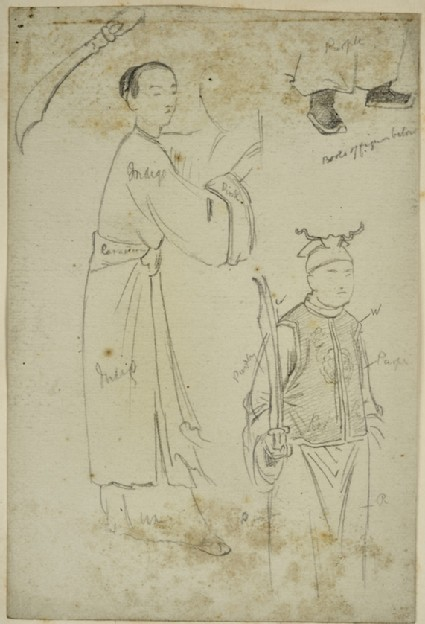 Studies of two Chinese Figures, with colour notes, for an Illustration to 'Temujin'