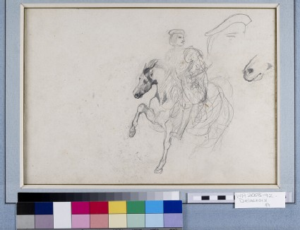 Recto: A Horseman wearing a Cuirass with a separate Study of his Cap and a further Study of the Horse's Muzzle<br />Verso: A Goat's Head in profile, a Woman's Head and an elongated Head in profile