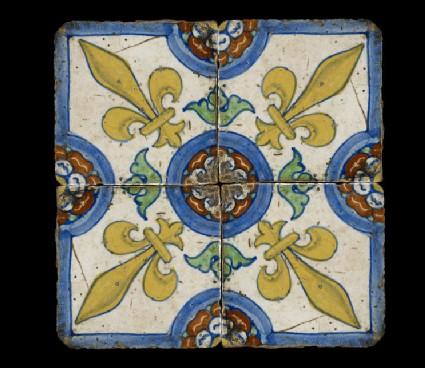 Tile with a fleur-de-lis