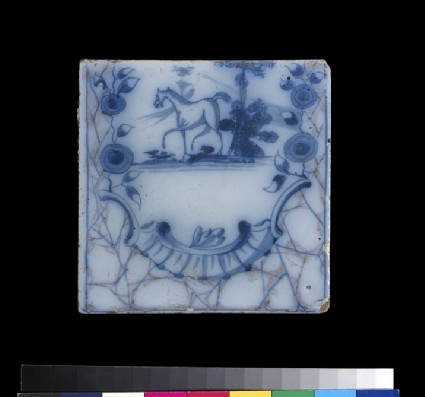 Tile with a horse walking in a landscape