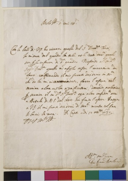 Autograph letter written by Guercino, dated from Cento 17th October 1637, to an unspecified correspondent