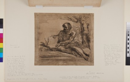 An old bearded man, probably St Jerome, seated on the ground at the foot of a tree, turning the leaves of a large volume