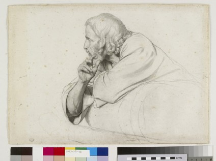 Study of a half-length bearded man reclining to left