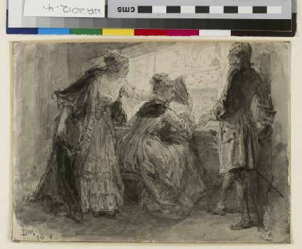 Three figures in eighteenth-century costume in a box in the theatre