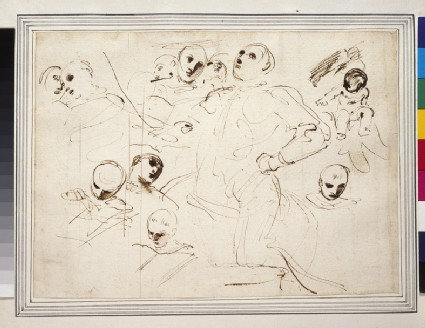 Sheet of studies for St William taking the Habit (St William kneeling, Heads of Acolytes, Christ Child)
