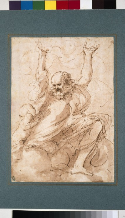 Bearded prophet with both arms raised looking down at a putto