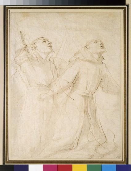 Two Studies of St Francis kneeling to receive the stigmata