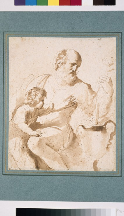 St Joseph about to give a lily to the infant Christ