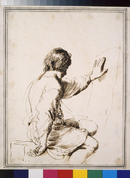 Seated youth, turned away with left hand raised and resting on a piece of paper hanging on the right