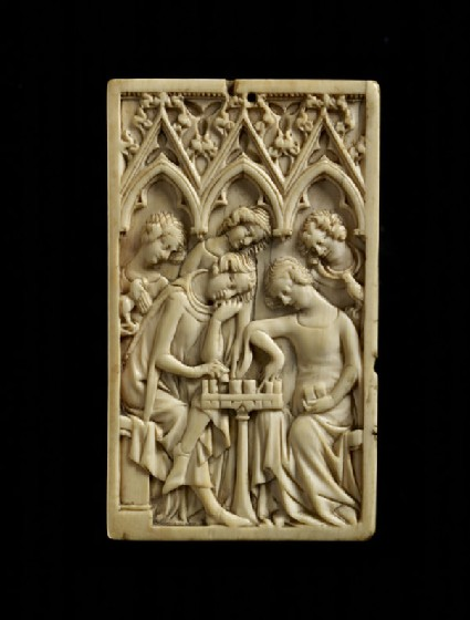 Ivory panel, a man and a woman playing chess