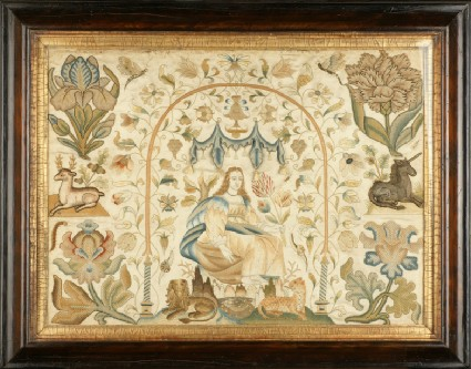 Textile panel with Lady under arch, possibly one of the Senses
