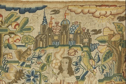 Textile panel with Lady with Flower (Sense of Smell)