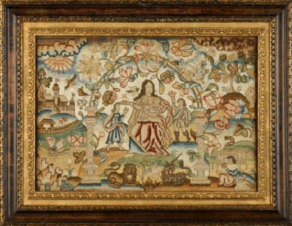 Textile panel with Charity seated under arch