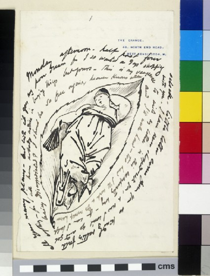 Illustrated letter with caricature of a woman in evening dress lying on a leaf