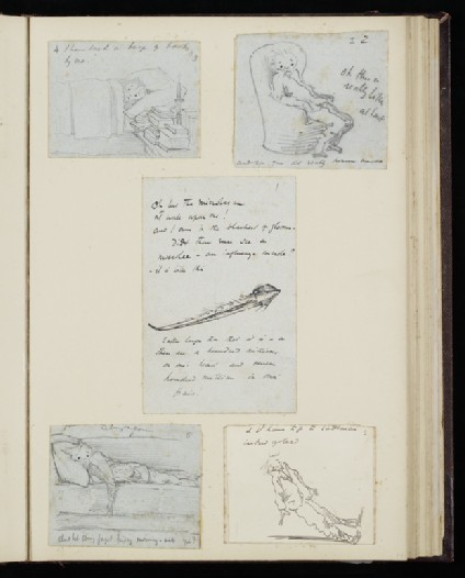 Illustrated letter with self-portrait lying in bed