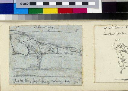 Illustrated letter with self-portrait lying on a sofa