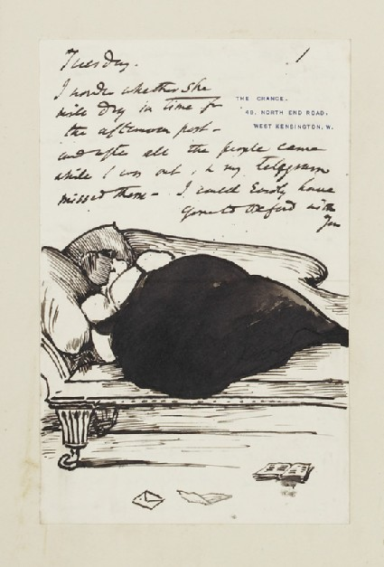 Illustrated letter with caricature of a woman in evening dress asleep on a sofa