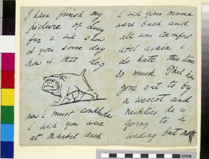 Illustrated letter with a fierce dog