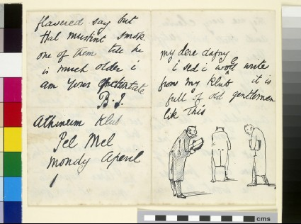 Illustrated letter with three elderly men in tailcoats