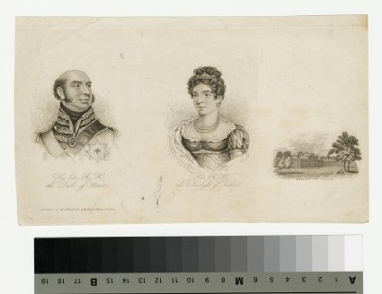 Portrait of the Duke and Duchess of Kent, with a vignette of Kensington Palace