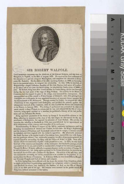 Portrait of Sir Robert Walpole