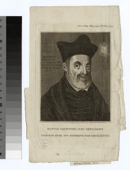 Portrait of R. Parsons, illustration to the Gentleman's Magazine