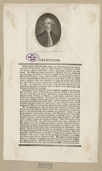 Portrait of W. Shenstone