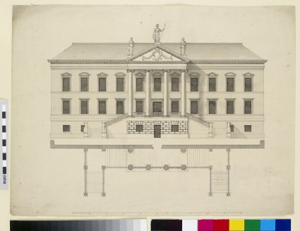 Elevation of a country house, probably Devonshire House