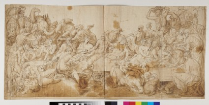 Recto: A Banquet: Scene from classical mythology<br />Verso: Various Anatomical Sketches