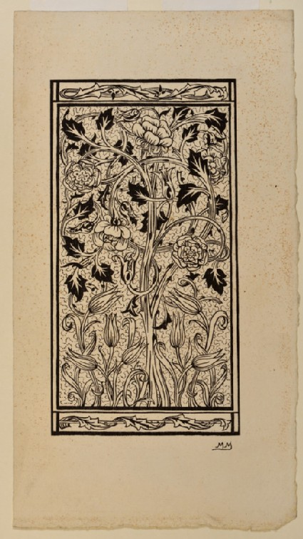Floral panel design: illustration for 'Hobby Horse' article on embroidery