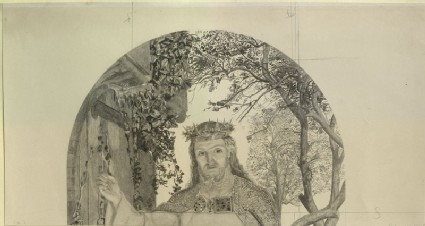 Fragment of an etching of William Holman Hunt's 'The Light of the World'