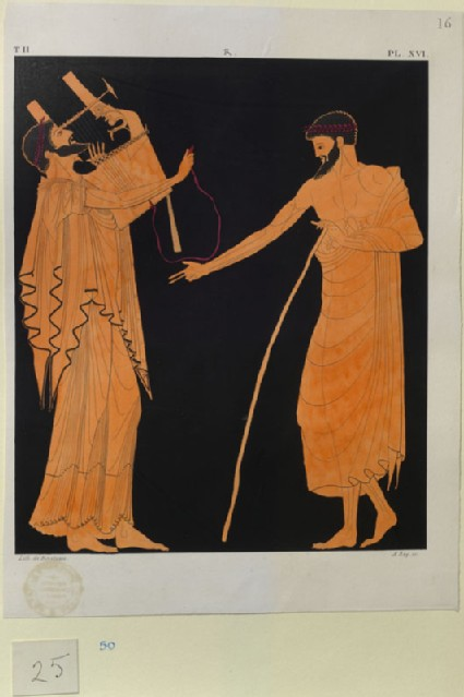 Print of the Decoration on a Greek Amphora, showing Apollo and a Man