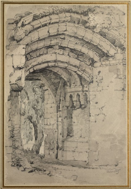 Recto: Ruined Gateway at Helmsley Castle <br />Verso: Sketch of a Standing Woman
