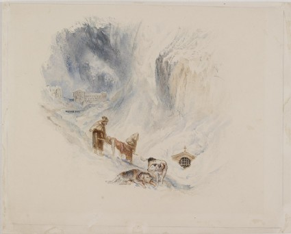 Recto: Drawing of Turner's 'Hospice of the Great Saint Bernard'