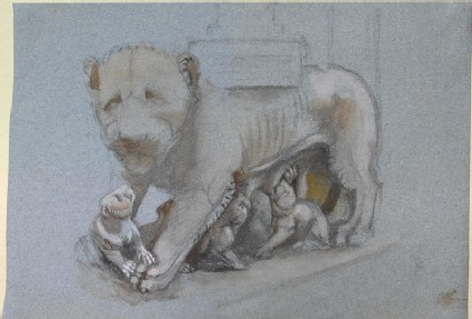 Sketch of Lioness and Cubs from Nicola Pisano's Siena Pulpit