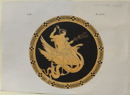 Print of the Decoration on a Greek Cylix, showing Triptolemus