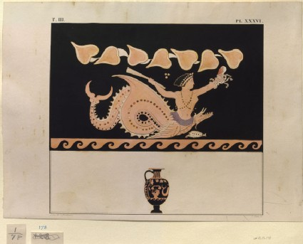 Print of the Decoration on a Greek Hydria, showing Scylla